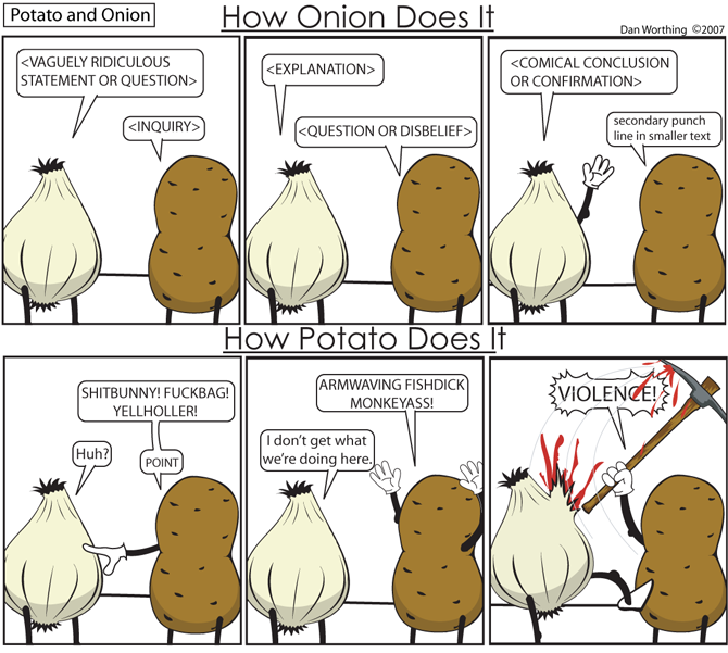 You can use this handy guide to write your own Potato and Onion.